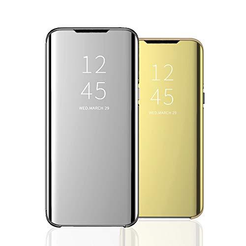 Clear View Standing Cover für das Samsung Galaxy A21S, kompatibel mit Galaxy A21S, Spiegel Handyhülle Schutzhülle Flip Cover Schutz Tasche mit Standfunktion 360 Grad hülle für Galaxy A21S-4