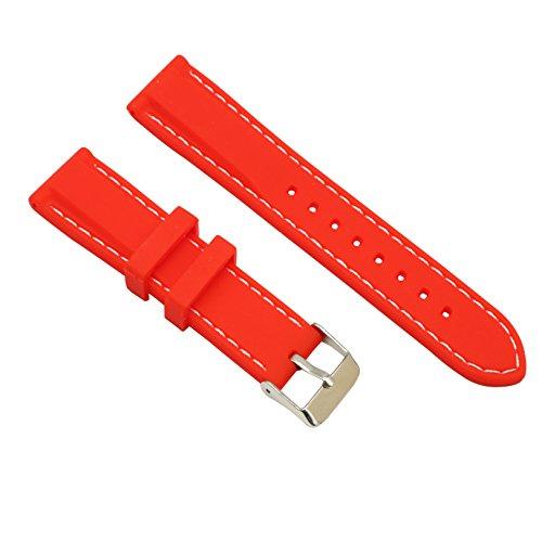 Cinturino in gomma traspirante Orologio da polso rosso con barra a molla con linea bianca, fibbia ad ardiglione liscia da 22 mm.