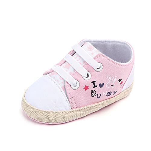 FURONGWANG6777BB Baby Girl Chico Imprimir Animal Conejo Patrón de Conejo Newborn First Walkers Anti-Slip Sole Sole Shoes (Color : Pink, Shoe Size : 12cm (4.72 in))
