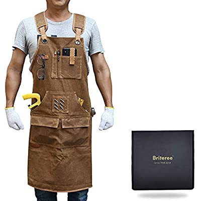 Briteree Woodworking Aprons for men, Gift for Woodworker, with 9 Tool Pockets, Durable Waxed Canvas