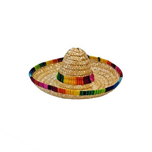 Bclaer72 Mini-Sombrero aus natürlichem Stroh, mexikanischer Hut, Tisch-Partyzubehör, Fiesta-Party, Geburtstag, Party-Dekoration, Hundekappe (beige)