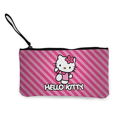 Dibujos animados Anime lindo Hello Kitty Pint Strip Line Canvas Monedero Mujeres Maquillaje Bolsa Durable Poliéster Cremallera Moda Unisex