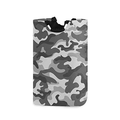 ALAZA Large Laundry Hamper Basket Gray Military Camouflage Laundry Bag Collapsible Oxford Cloth Stylish Home Storage Bin with Handles, 22.7 Inch