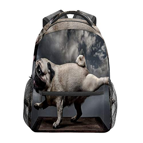 School Backpack Funny Pug Dog Doing Exercise Casual Travel Laptop Daypack Canvas Book Bags for Woman Girls Boys Student Adult Men