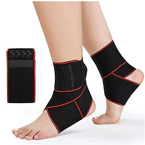 Lazzon 2 Stück Knöchelbandage Einstellbare Sprunggelenk Bandage Damen Herren Fußbandage mit Klettverschluss für Sport Fitness Gelenkschmerzen Verstauchungen Bandschäden