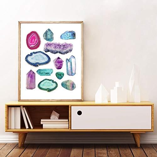Arte De Lienzo Vintage piedras preciosas minerales pared arte impresión, acuarela piedras preciosas y cristales pintura semi piedras geología decoración de la oficina Sin marco