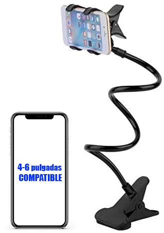 Soporte para teléfono móvil Flexible de Cuello de Cisne. Soporte Universal de Brazo para iPhone Smartphone teléfono móvil con Clip para Mesa (Negro)