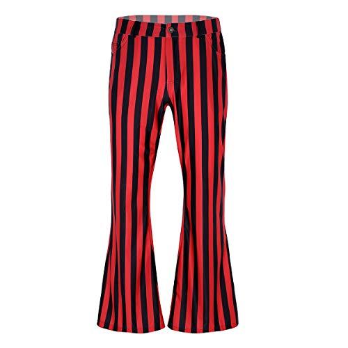 Agoky Herren 70er Jahre Retro Schlaghose Breites Bein Streifen Muster Disco Kostüm Halloween Faschingskostüm Rot&Schwarz M