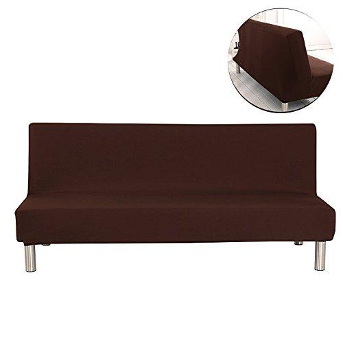 Surenhap Einfarbig Stretch Sofabezüge schutzhülle ohne armlehnen,Faltbar und Elastisch Sofaüberwurf (Braun)