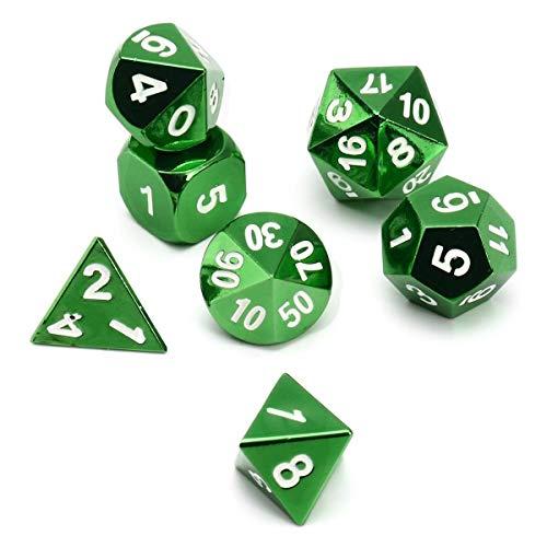 TX GIRL 7pcs Poliédrica Dados Kit De Entretenimiento De Aleación De Zinc Dados Prop For DND RPG MTG Reunión Al Aire Libre Poker Divertidos Juegos Juguetes (Size : Green)