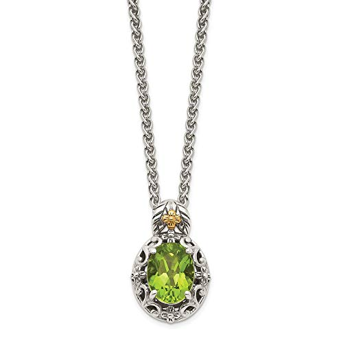 Sterling Silver and 14k Yellow Gold Accent Peridot Pendant Necklace, 18'