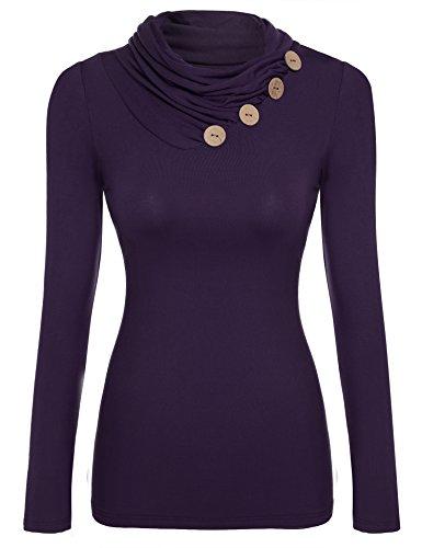 Zeagoo Damen Rollkragen Basic Slim Fit Shirt Langarmshirt Top Bluse, Lila, EU 36(Herstellergröße:S)