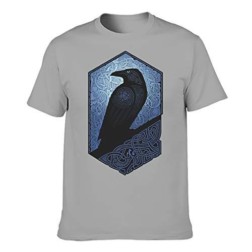 Knowikonwn Herren Wikinger Odin Ravens Baumwolle T-Shirts Ideas Shirt Gr. L, grau