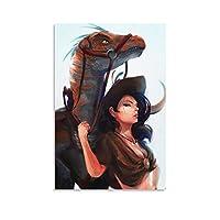 ラプター恐竜騎士ポスター壁画現代美術イラストリビングルーム寝室オフィス壁装飾絵画キャンバス印刷吊り下げ絵画12×18インチ(30×45cm)