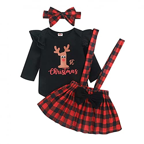 YQSR - Body de manga larga para bebé y niña, diseño de cuadros, falda de princesa, falda a cuadros, ropa de fiesta, fotoshoot