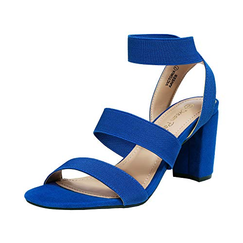 DREAM PAIRS Women's Royal Blue Open Toe High Chunky Elastic Strap Dress Heel Sandals Size 8.5 US Victoria