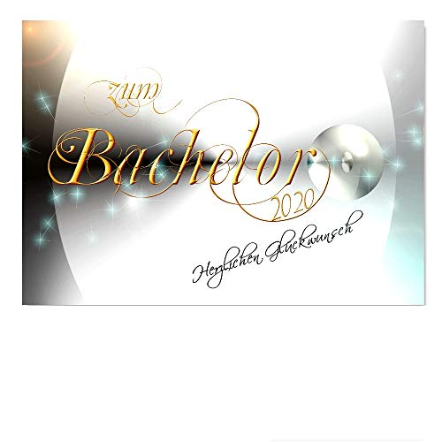DigitalOase Glückwunschkarte BACHELOR 2020 BACHELORPRÜFUNG A5 Gratulationskarte Grußkarte Klappkarte Umschlag #YANG