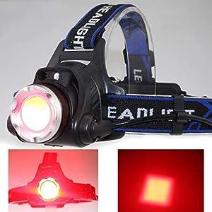 WINDFIRE-Linterna Frontal LED Recargable USB con Sensor Impermeable Lampara de Luz Roja para Noche Camping Caminar Correr Caza Ciclismo