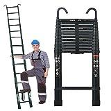 5M/16.5Ft Telescopic Extendable Folding Ladder w/2xHooks Soft Close Anti Pinch Finger Protection-Aluminum Lightweight-150kg/330lbs Max. Load-Portable Loft Stragiht Ladder