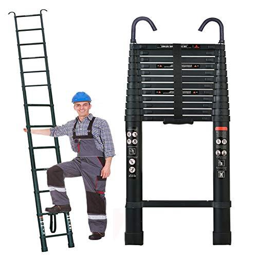 5M/16.5Ft Telescopic Extendable Folding Ladder w/2xHooks Soft Close Anti...