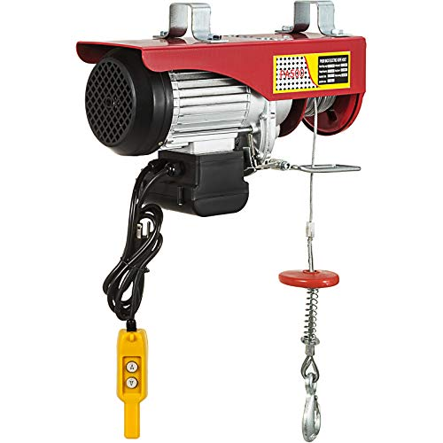 Happybuy 1100 LBS Lift Electric Hoist, 110V Electric Hoist, Remote Control Electric Winch Overhead Crane Lift Electric Wire Hoist for Factories, Warehouses, Construction, Building, Goods Lifting