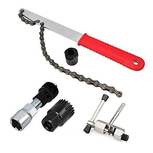 DZX Kit de Herramientas de reparación de látigo de Cadena de Casete de extracción de Extractor de Rueda de manivela de Bicicleta MTB 5 en 1 para Mantenimiento de Bicicletas de Motocicleta Accesorios