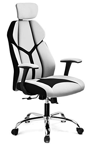 GTRACING Gaming Chair Soft Breathable Fabric Office Gaming Executive Chair Lumbar Support w/Ergonomic Curved Deign & Headrest Reclining Adjustable Computer Desk Home Chair(Gray)