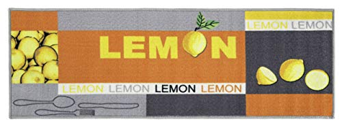 andiamo 282761 Runner a pelo corto Lemon in 100% poliammide Runner da cucina con motivo limone, giallo verde 50 x 150 cm