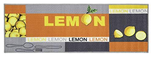 andiamo Kurzflor Läufer Lemon aus 100% Polyamid Küchenläufer mit Zitronen Muster, gelb, 50 x 150 cm