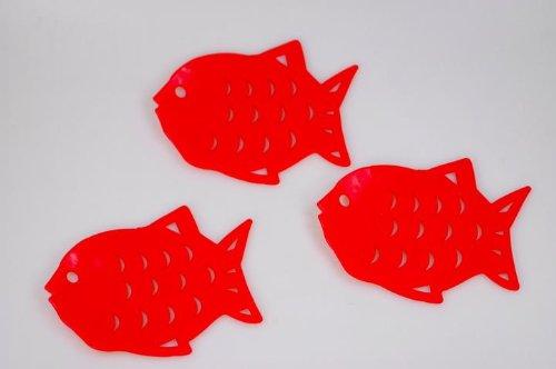 Antirutschpad Fisch Rutschstopper für Badewanne und Dusche rot Ø 12cm 6er Set