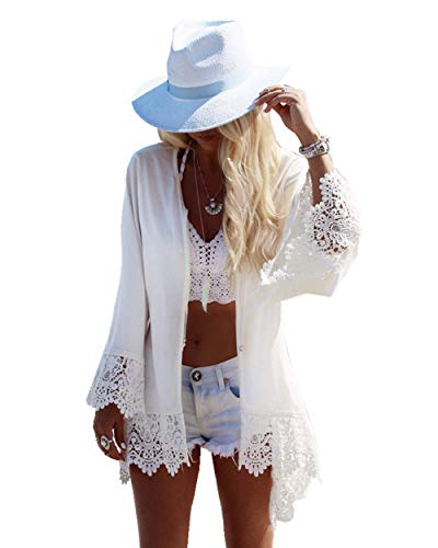 PANAX Damen Strand Chiffon Cardigan Weiß mit Spitze - Sommer Urlaub Poncho Bikini Cover up StyleA Weiß