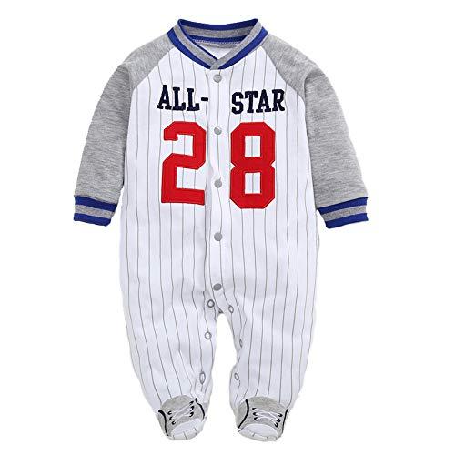 Pyjama Bébé Combinaisons Garçons Grenouillères en Coton Bodys à Manches Longues 3-6 Mois