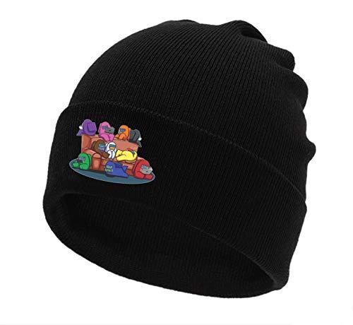 Besoar Beanie Caps Hats Cotton Cute Cartoon Funny Plain Kawaii Fashion Cool Unique Character Fun Vintage Aesthetic Pretty Design for Us Man Women Girls Boys Black Skull Knit Hat Cap (Family)