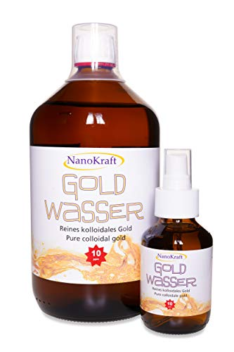 Kolloidales Gold 1000ml / 10ppm | Gratis 100 ml Rosa Goldwasser in Sprühflasche | HVAC-Herstellung in Laborumgebung | Braunglasflasche | Messbecher | Bessere Wirksamkeit | Made in Austria