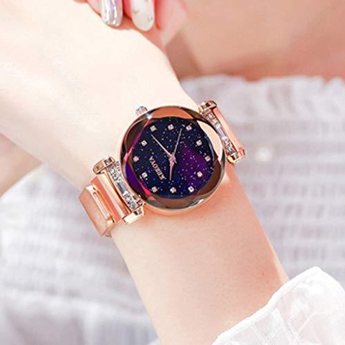 FSWH LT Reloj para Mujer Gypsophila Disco de Corte para Mujer Reloj Simple Correa de Acero Cuarzo Reloj…