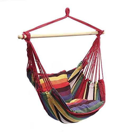Hamaca Swing Silla portátil de jardín Swing interior Dormitorio cuna colgante silla con cojín con soporte de madera, silla de hamaca grande al aire libre fácil de instalar (color del arco iris)