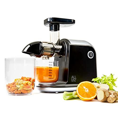 ALL EAZY HOME & KITCHEN Entsafter für Obst & Gemüse • Elektrischer Slow Juicer mit Umkehrfunktion • Einfache Reinigung und extra leise (150W)