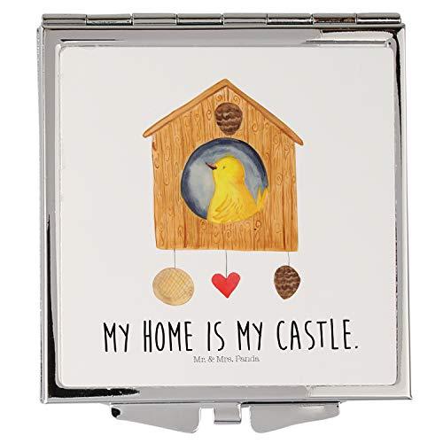 Mr. & Mrs. Panda Schminkspiegel, schminken, Handtaschenspiegel quadratisch Vogelhaus mit Spruch - Farbe Weiß