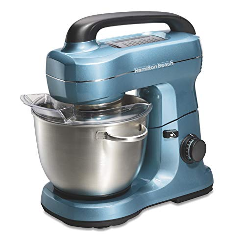 Hamilton Beach Electric Stand Mixer, 4 Quarts, Dough Hook, Flat Beater Attachments, Splash Guard 7 Speeds with Whisk, Blue