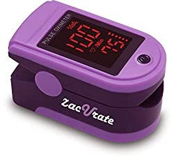 Zacurate Pro Series 500DL Fingertip Pulse Oximeter Blood Oxygen Saturation Monitor with Silicon Cover, Batteries and Lanyard (Mystic Purple)