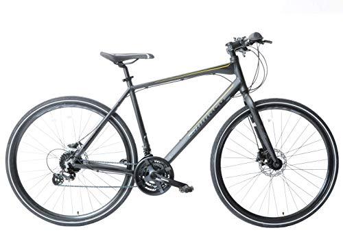 Ammaco. Strada 700c Hybrid Trekking Road Commuter Sports Bike 24 Speed Mens Hydraulic Disc Brakes Lightweight Alloy 23' Frame Black