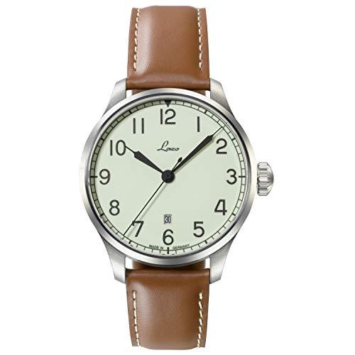 LACO Valencia 861651.2 - Reloj de pulsera para hombre, correa de piel de becerro marrón, cristal de zafiro, 42 mm de diámetro, automático, reloj marina, incluye estuche