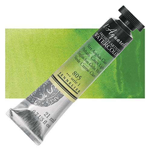 Sennelier L'Aquarelle French Watercolor, 21ml Tube, S1 Phthalo Green Light
