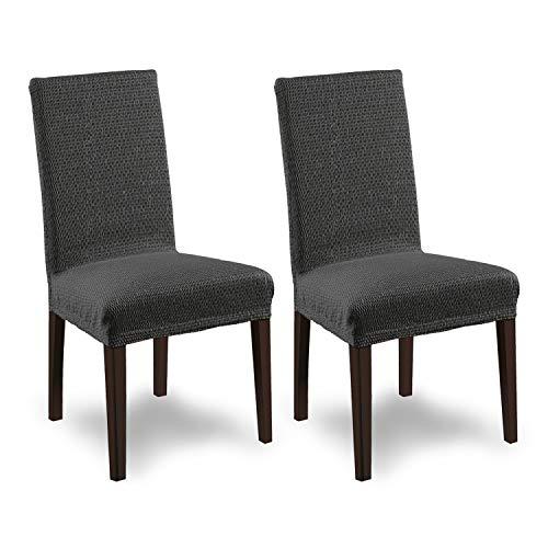 SCHEFFLER-Home Stretch Stuhlhusse Tunez | 2er Set elastische Stuhlabdeckungen in feinem Raff-Look | Stuhlhussen Schwingstühle | Spannbezug mit Gummiband | Elegante Stuhlbezüge