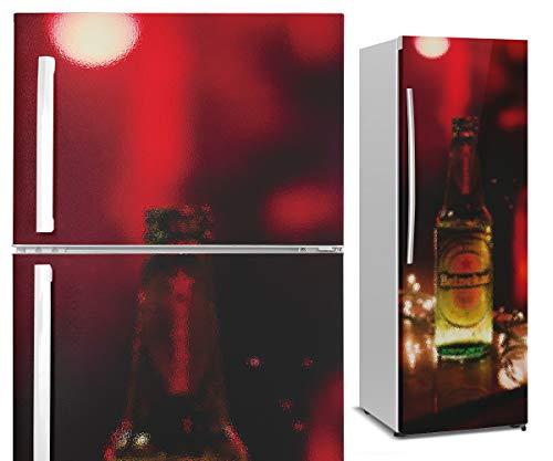 Vinilo para Nevera - Cerveza en Pub - Efecto de Vidrio Esmerilado - Vinilo Decorativo para Cocina - Duradero, Impermeable y Removible - Varias Medidas (185x60cm)