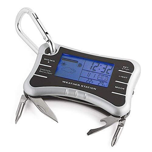 Tech Tools 8-in-1-Pocket Mobile Wetterstation Schlüsselanhänger mit Multi Tools Wecker mit Temperatur und Luftfeuchtigkeit, einschließlich Kompass, Dosenöffner, Flaschenöffner, Schraubendreher, Schere