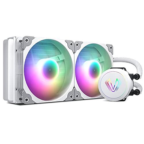 Vetroo 簡易水冷CPUクーラー 240mm デュアル120mmファン ARGB対応 Intel/AMD両対応 一体型 水冷熱交換器付き オールインワン PWMファン自動制御 液体冷却 コントローラ付き (120mm ファン2基, ホワイト)