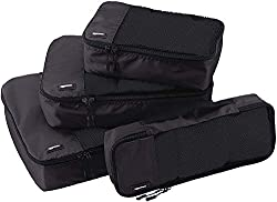 AmazonBasics garment bag set, 4-piece, each 1 small, medium, large and narrow bag, black