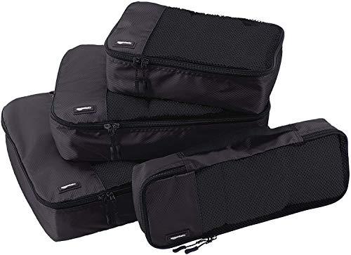 Amazon Basics - Bolsas de equipaje (pequeña, mediana, grande y alargada, 4 unidades), Negro