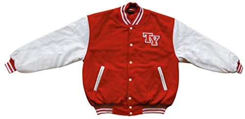 Commando Industries Tysonz Bequeme American Baseball Jacke Sportjacke Herren Football College Jacke Verschiedene Ausführungen (XL, Rot/Weiß)